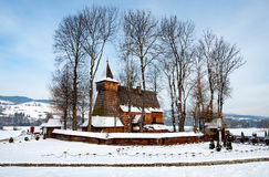 Old Wooden Church in Debno, Poland, in winter Royalty Free Stock Photography
