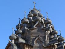Old wooden church domes Royalty Free Stock Photography