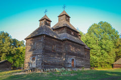 Old wooden church. At ethnographic museum Pirogovo, Kiev, Ukraine stock image