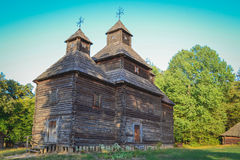 Old wooden church. At ethnographic museum Pirogovo, Kiev, Ukraine stock photos