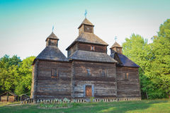 Old wooden church. At ethnographic museum Pirogovo, Kiev, Ukraine royalty free stock photo