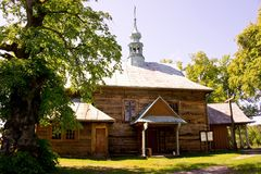 Old wooden church filmed on a bright sunny day.  royalty free stock images