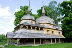 Old wooden church filmed on a bright sunny day.  royalty free stock photo