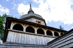 Old wooden church filmed on a bright sunny day.  royalty free stock photos
