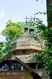 Old wooden church filmed on a bright sunny day.  royalty free stock photography