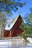 Old wooden church on the Finnish forest in winter.  Royalty Free Stock Photos