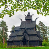 Old wooden church in Folks museum Oslo Royalty Free Stock Images