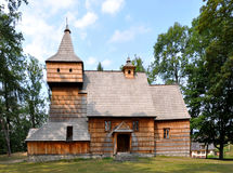 Old Wooden Church in Grywald, Poland. Old Gothic wooden church in Grywald, Poland, built in 15th century stock image