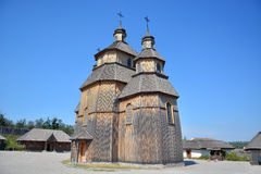 Old wooden church. On the island of Khortytsya in Zaporozhye, Ukraine Royalty Free Stock Photos