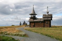 Old wooden church on Kizhi island Royalty Free Stock Photos