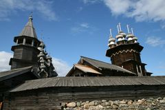Old wooden church on Kizhi island Stock Photos