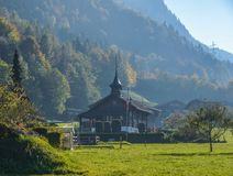 Old wooden church on mountain stock photos