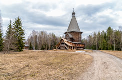 Old Wooden Church in the Museum of wooden architecture and folk art Malye Korely. Old Wooden Church in the Museum of wooden architecture and folk art Malye Stock Photography