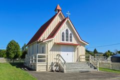 An old wooden church in the New Zealand countryside stock photo
