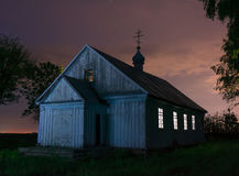 Old wooden church at the night Royalty Free Stock Photography