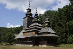 Old wooden Church in Pirogovo, Kiev, Ukraine Stock Photo