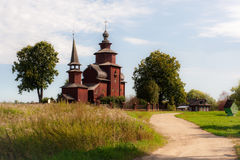 Old wooden church in the Russian village. Church of Saint John near Rostov (Russia Stock Image