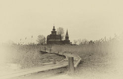 Old wooden Church of St. John the Evangelist on Ishna Royalty Free Stock Photos