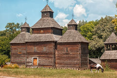 Old wooden church. Old wooden church stands in the village, horses grazing near Royalty Free Stock Photography