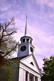 Old wooden church and steeple, located in Town of Groton, Middlesex County, Massachusetts, United States. New England.  Church and meetinghouse located in town Stock Photos