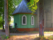 Old wooden church in sunny summer day. Seliger. Russia Stock Images