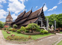 Old wooden church of Wat Lok Molee, Chiangmai, Thailand Royalty Free Stock Images