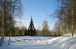 Old wooden church, winter Stock Images