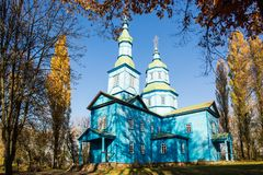 An old wooden churches in Pereyaslav Khmelnitskiy, Ukraine. An old wooden churches in Pereyaslav Khmelnitskiy Museum of Folk Architecture and Life of the Middle royalty free stock image