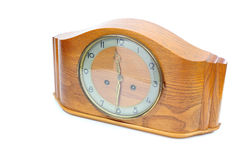 Old wooden clock. White background Royalty Free Stock Photo