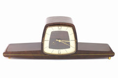 Old wooden clock. White background Royalty Free Stock Photography