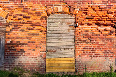 Old wooden closed door on the wall from red bricks Stock Image