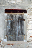 Old wooden closed shutters in the island Susak Stock Image
