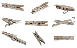 Old wooden clothes clip Stock Images