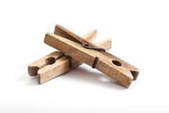 Old wooden clothes pegs Royalty Free Stock Photos