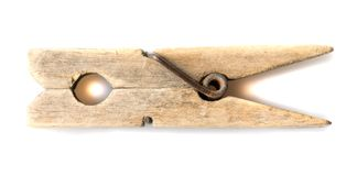 Old wooden clothespin  on a white background Royalty Free Stock Photos