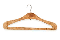 Old wooden coat hanger  on white Stock Photography