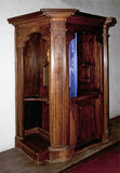 Old wooden confessional Royalty Free Stock Image