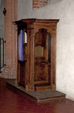 Old wooden confessional Stock Image