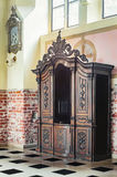 Old wooden confessional stock images