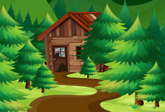 Old wooden cottage in the woods royalty free illustration