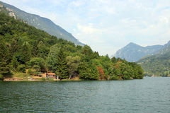 Old wooden cottages on river. Old wooden cottages on Drina river stock photography