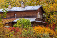 Old wooden country house. Surrounded by green, yellow, red trees and shrubs Royalty Free Stock Photography