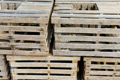 Old wooden crates stacked Stock Images