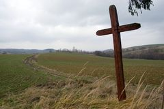 Old Wooden Cross in The Countryside Stock Photography