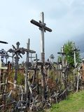 Old wooden cross on hill, Lithuania Royalty Free Stock Image
