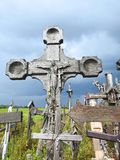 Old wooden cross on hill, Lithuania Royalty Free Stock Photo