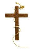 Old wooden cross with a rope turned around Royalty Free Stock Photography