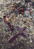 Old wooden cross and stake, vampire theme Stock Photos