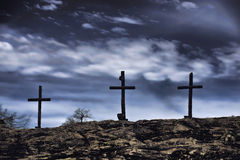 Old Wooden Crosses. Stock Photo