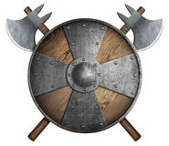 Old wooden crusader`s shield and two crossed axes isolated 3d illustration. Wooden crusader`s shield and two crossed axes isolated on white Royalty Free Stock Photos